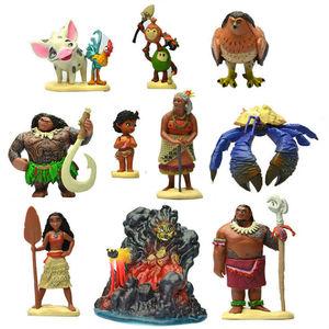 Image 3 - Disney Film Vaiana Moana 10 teile/satz Cartoon Prinzessin Maui Chef Tui Tala Heihei Pua Action Figure Dekoration Spielzeug Für Kinder