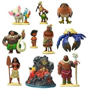 Image 3 - Disney Movie Vaiana Moana 10pcs/set Cartoon Princess Maui Chief Tui Tala Heihei Pua Action Figure Decoration Toys For Childrens