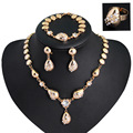 2017 New Women Fashion Jewelry Sets Gold Water Drop Collar Necklaces Earrings Bracelet adjustable ring wedding Party Gift