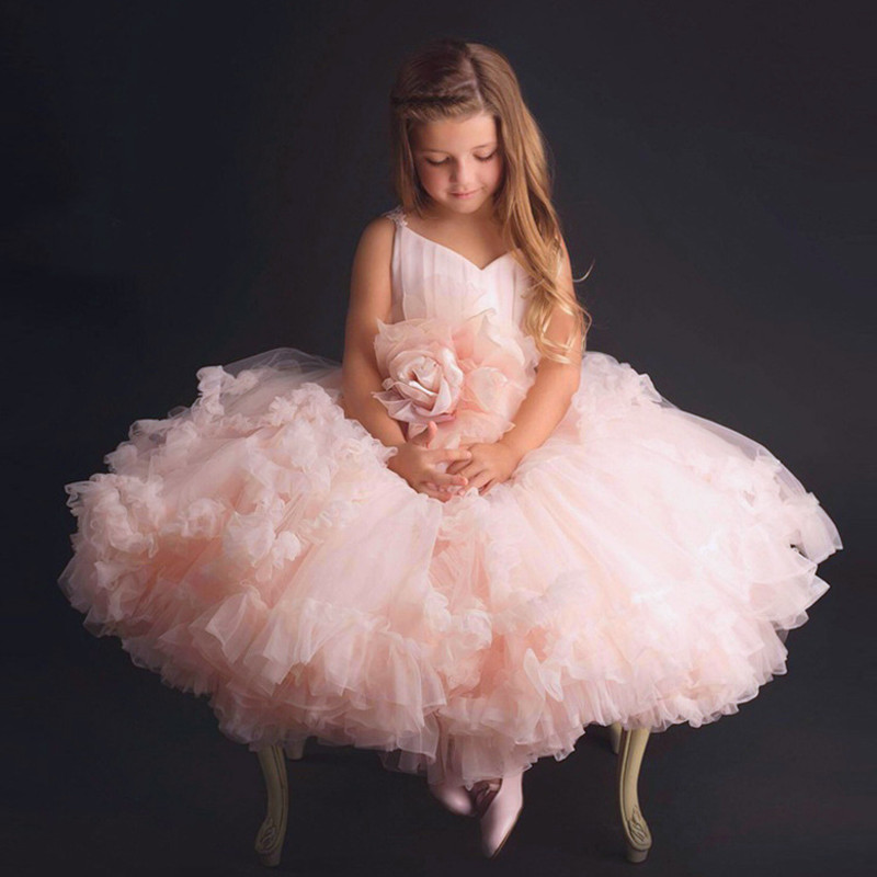 Pink Big Rose Flower Girl Tutu Dress Kids Princess Wedding Bridesmaid Birthday Party Prom Tulle Dresses for Girls Robe Fille New new arrival princess girl dress party wedding birthday kids tutu dress for girls dresses clothes summer 2017 robe fille enfant