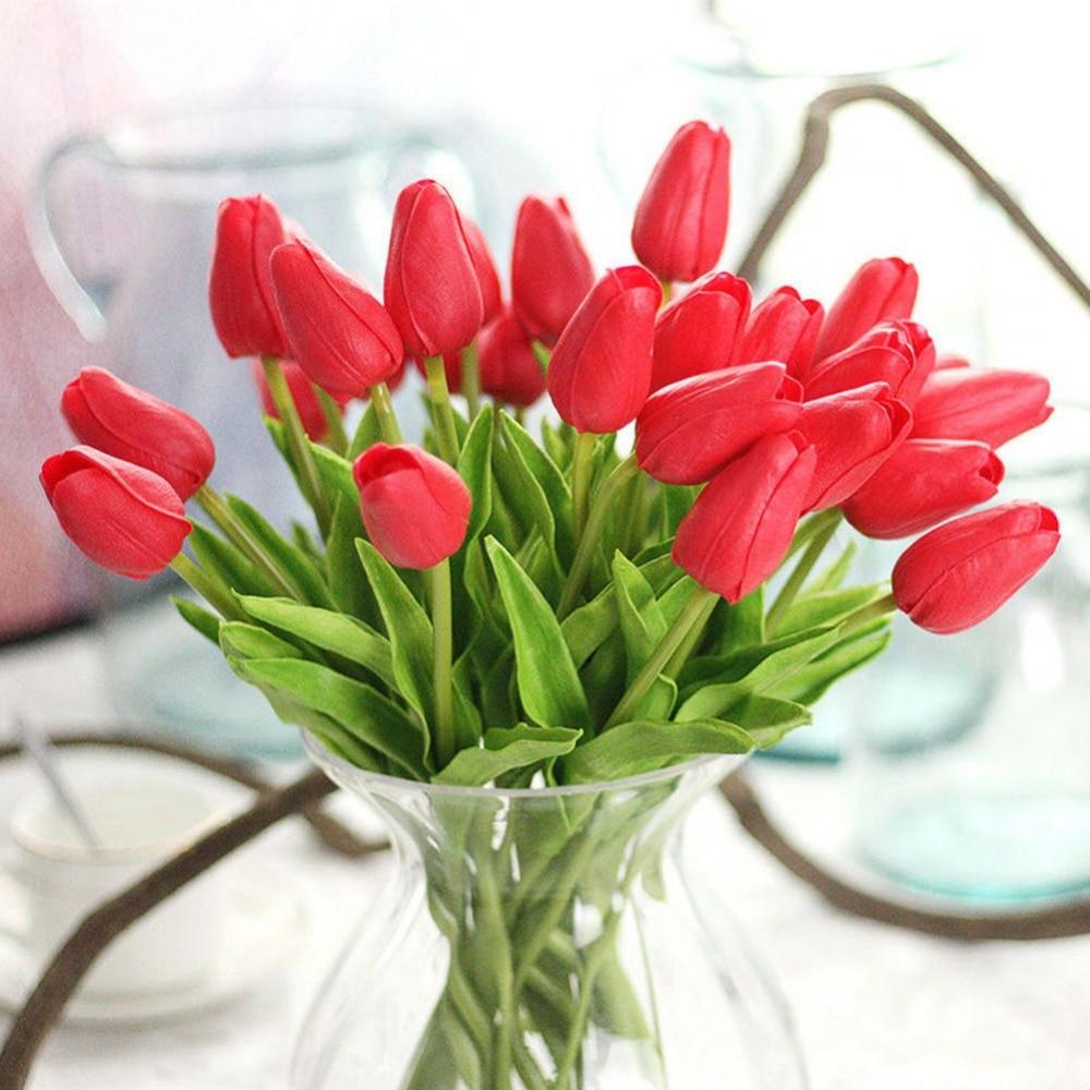 10pcs Artificial False Tulip Fake Flowers Bouquet Room Home Wedding