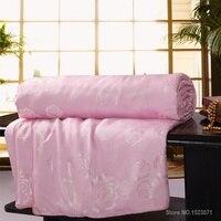 Шелковое Одеяло/одеяло для зимы/лета King queen size белое и розовое шелковое покрытое одеяло ручной работы