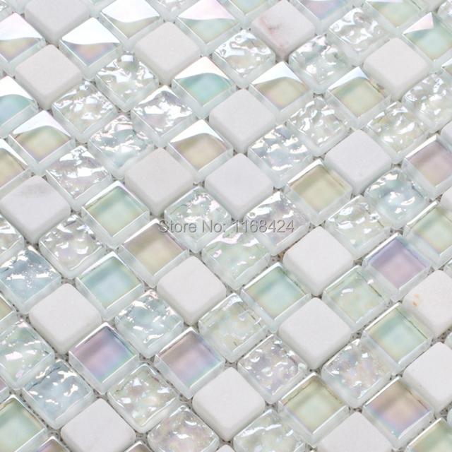 Brillante color blanco crysta azulejos de mosaico de - Azulejos para mosaicos ...