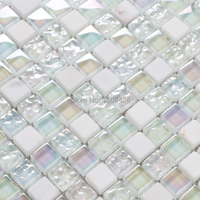 Kitchen Tiles Square: Shining White Color Crysta Glass Mosaic Tiles Square For