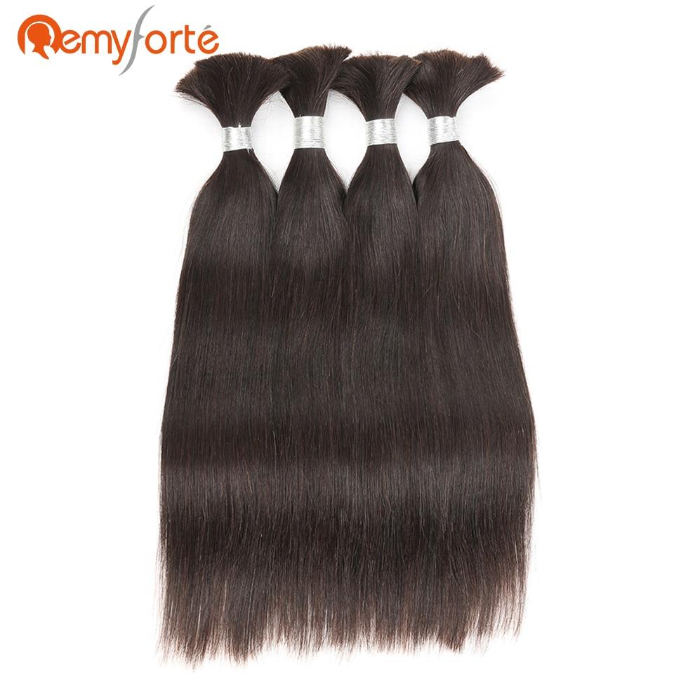 Remy Forte Hair No Weft Straight Bulk Human Braiding Hair Bulk 4 Bundles Deal Natural Color Brazilian Crochet Braids Human Hair