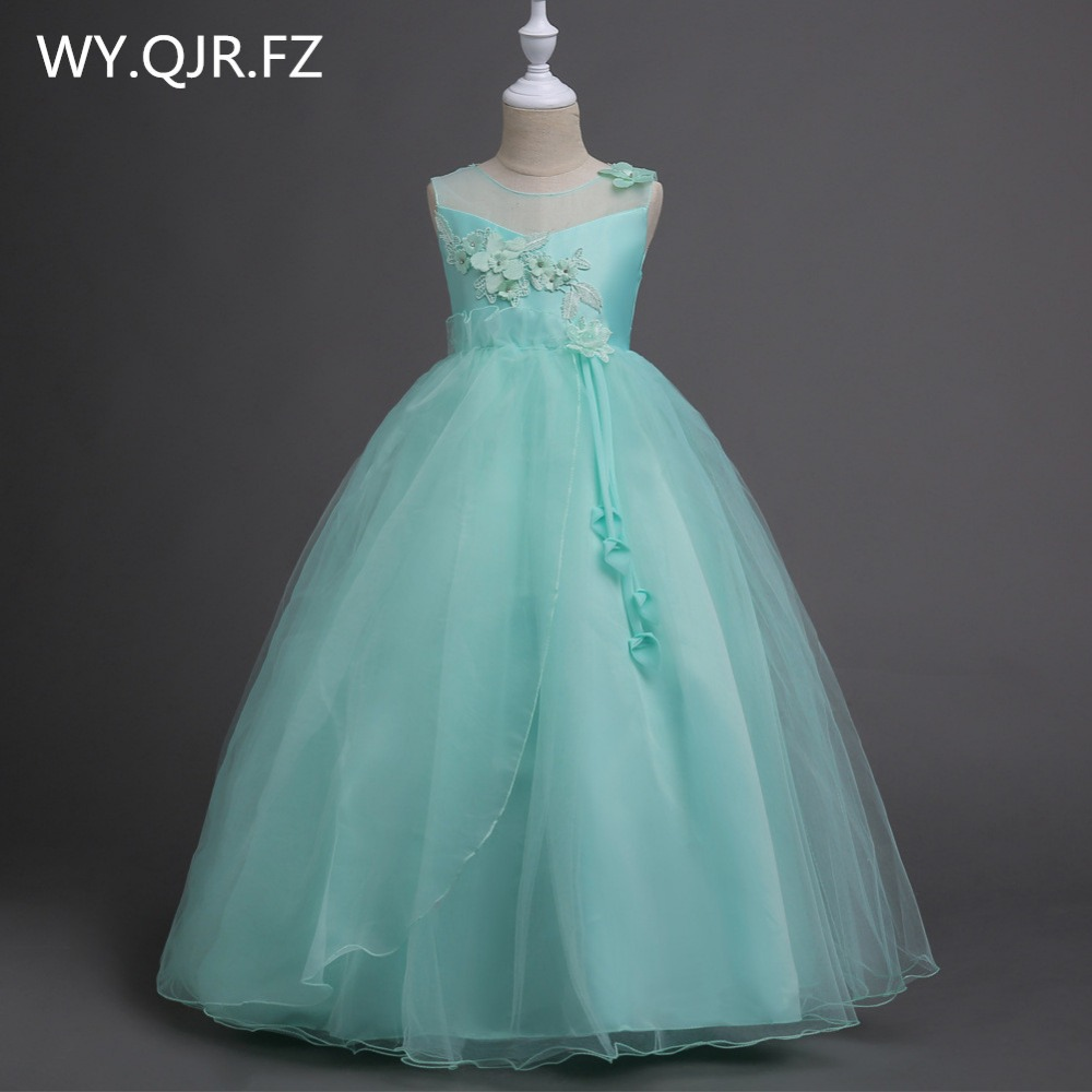 BH708#Older children Green princess princess skirt   Flower     Girl     Dresses   School performance   dress   Wholesale cheap children's wear