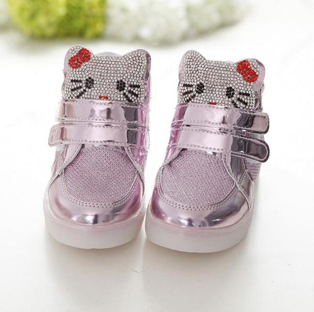 the latest 963a0 6dc0a Hello Kitty Children Glitter Shoes Toddler Baby Girls Sequin Sneakers Kids  Sprot Running Shoes Tenis Infantil Chaussure Enfant