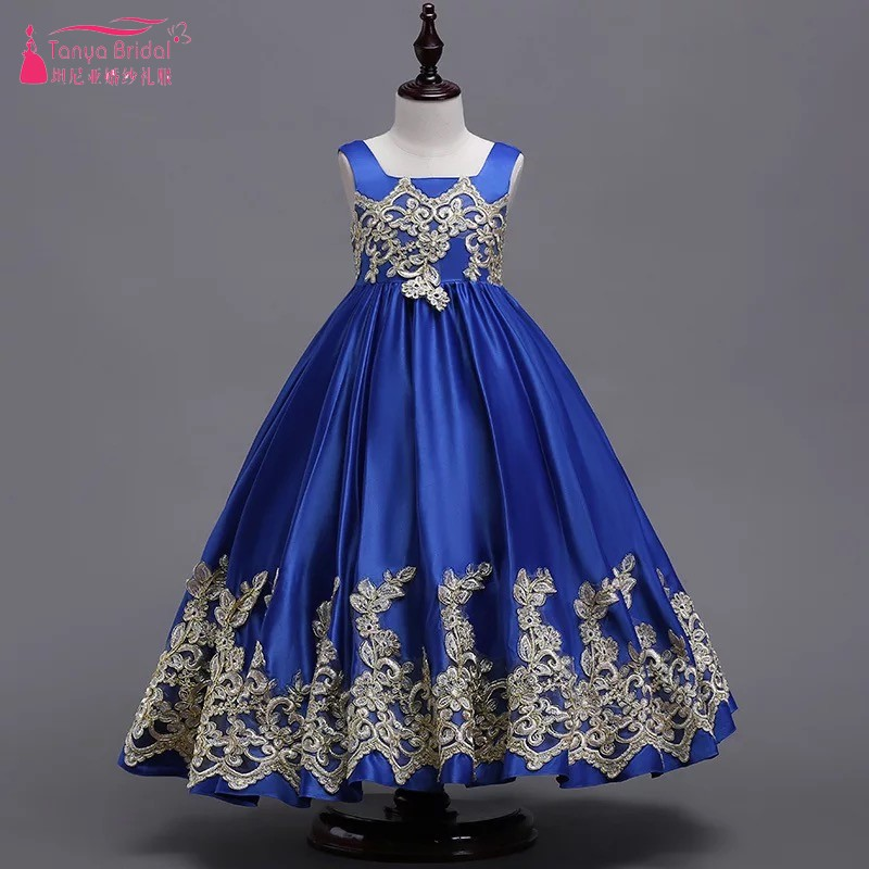Royal Blue Lace Appliques Long   Flower     Girl     Dresses   For Weddings Pageant   Dresses   For   Girls   communion Kids Formal Gown vestiDQG443