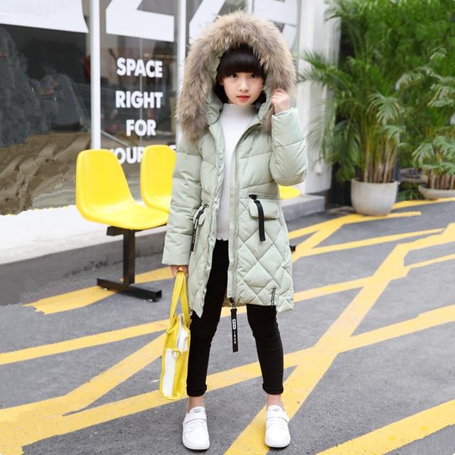 2017 зимняя куртка-пуховик для пальто для девочек модные с капюшоном большой меховой воротник буквы пальто на молнии для девочек 120-160 5 цветов можно выбрать