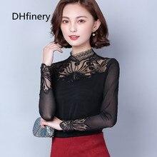 DHfinery lace t shirt women autumn turtleneck long sleeve Flower embroidery perspective mesh black plus velvet t-shirt F8925