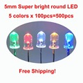 Free Shipping! 5 colors x100pcs =500pcs New 5mm Round Super Bright Red/Green/Blue/Yellow/White Water Clear LED Light Diode kit