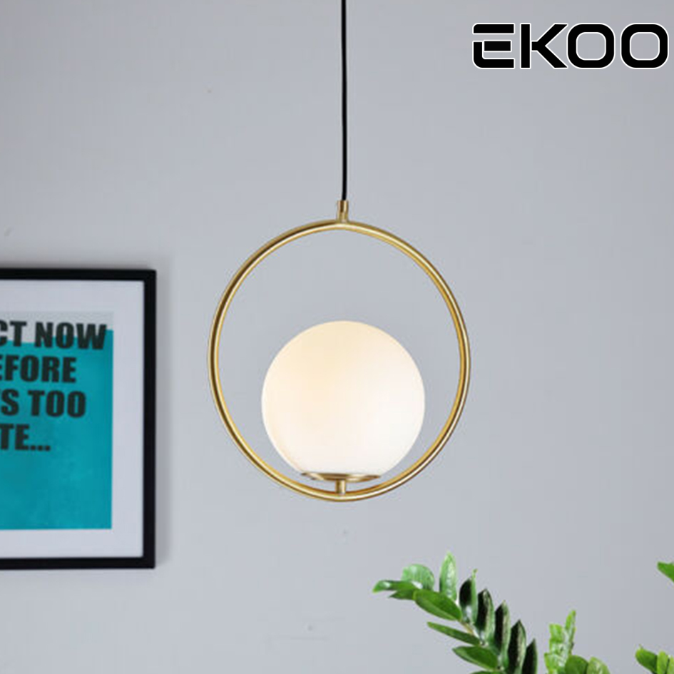 EKOO Modern Gold LED Pendant Lamp White Glass Ball Lighting for Living Room Bedroom Dining RoomEKOO Modern Gold LED Pendant Lamp White Glass Ball Lighting for Living Room Bedroom Dining Room