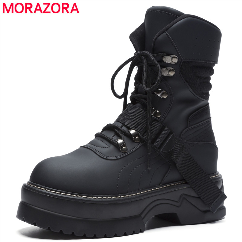 Pizzo Microfibra Caviglia Da Donna Piattaforma 2018 Solidi Morazora Alla Ginnastica Stivali Pelle Colori Nuove Di Up beige Black Scarpe In Moda 8pnwOPq