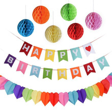 ФОТО zilue 8pcs happy birthday rainbow flag assorted balloons hanging swirls banner paper stylish honey comb ball party decorations