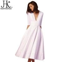 KEAIYOUHUO Brand High Quality Women Dress 2017 Vintage Summer Dress Half Sleeve Dresses For Women Plus