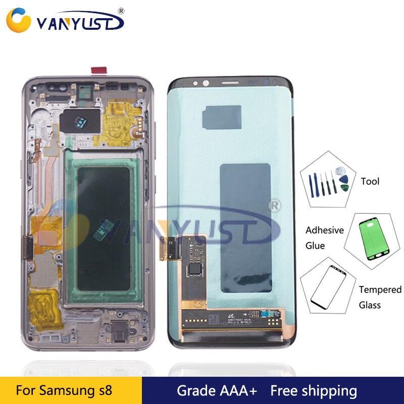 Pour Samsung Galaxy S8 G950F G950W Lcd Affichage à L'écran Tactile Digitizer Assemblée Pour Samsung S8 Plus G955F G955W Lcd avec cadre