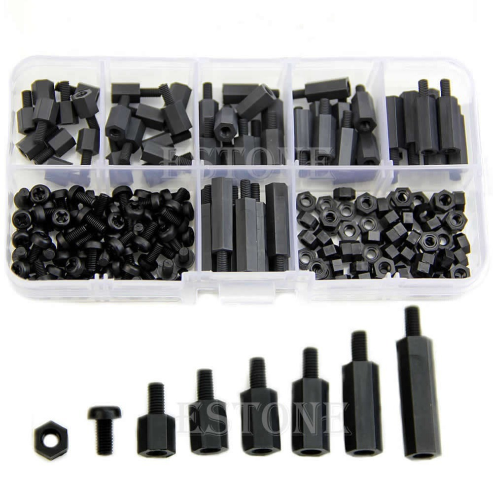 M3 Nylon Black Hex M-F Spacers/ Screws/ Nuts Assorted Kit, Standoff