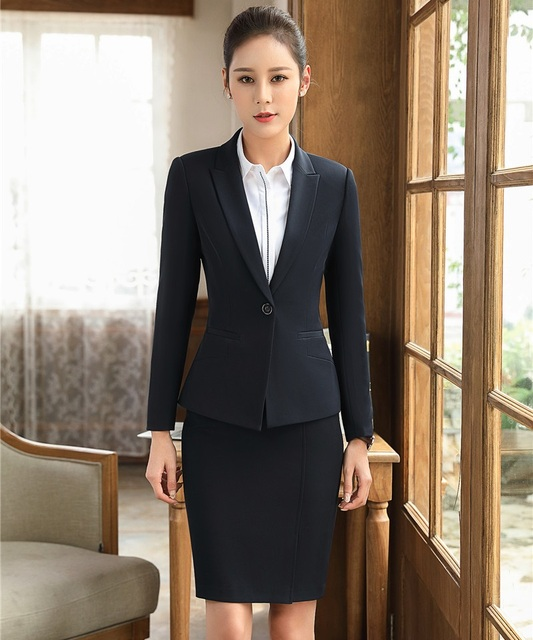 Ladies Black Blazers Women Business Suits Formal Office Suits Work Wear  with Skirt and Jacket Sets Elegant 8081b0ce81b6