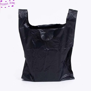 Image 4 - 250Pcs/Pack Black Bags Shopping Bag Supermarket Plastic Bag With Handle Food Packaging Bags for Kitchen Dropshipping