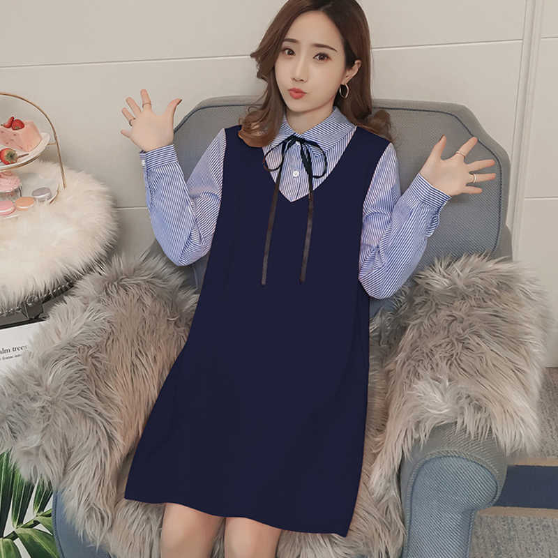 Spring Pregnant Women Fake Two-piece Dress Korean Fashion Lace-up Long  Sleeve Pregnancy 0ed8e2c2a314