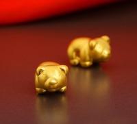Hot sale fashion 1PCS Best 999 24K Yellow gold Bear Knitting Bracelet 0.76g