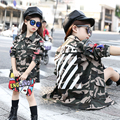 2016 Autumn new girl in the big child fashion stripes long-sleeved lapel girl camouflage jacket children's US size
