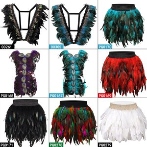 Image 1 - 羽本体ハーネスブラジャーと羽スカート女性のファッションセクシーなケージボンデージランジェリーパンクゴシックダンスフェスティバル着用