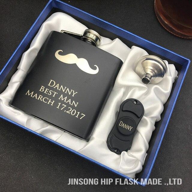 9 91 Nouveau Style Cadeau De Mariage Personnalise Pour Meilleur Homme Homme D Honneur Cadeaux De 6 Oz Flacon De Hanche Noir Avec Entonnoir Fidget