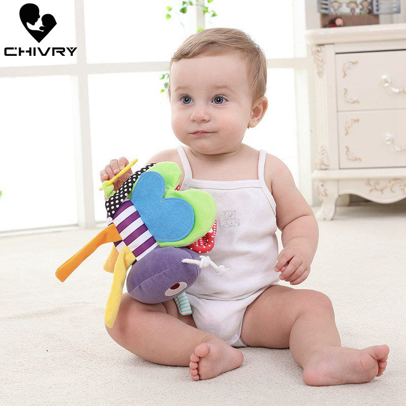 Chivry Baby Rattles Toys New Infant Baby Plush Toy Bed Wind Chimes Newborn Kids Crib Stroller Bed Hanging Bells Teether Toys