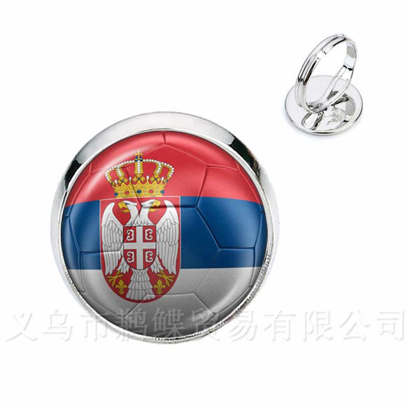 สวิตเซอร์แลนด์,สวีเดน,ญี่ปุ่น,โปรตุเกส, ไนจีเรียฟุตบอลแห่งชาติธงโลโก้ 16mm แก้วโดม AdjustableRings สำหรับ Funs ของขวัญ