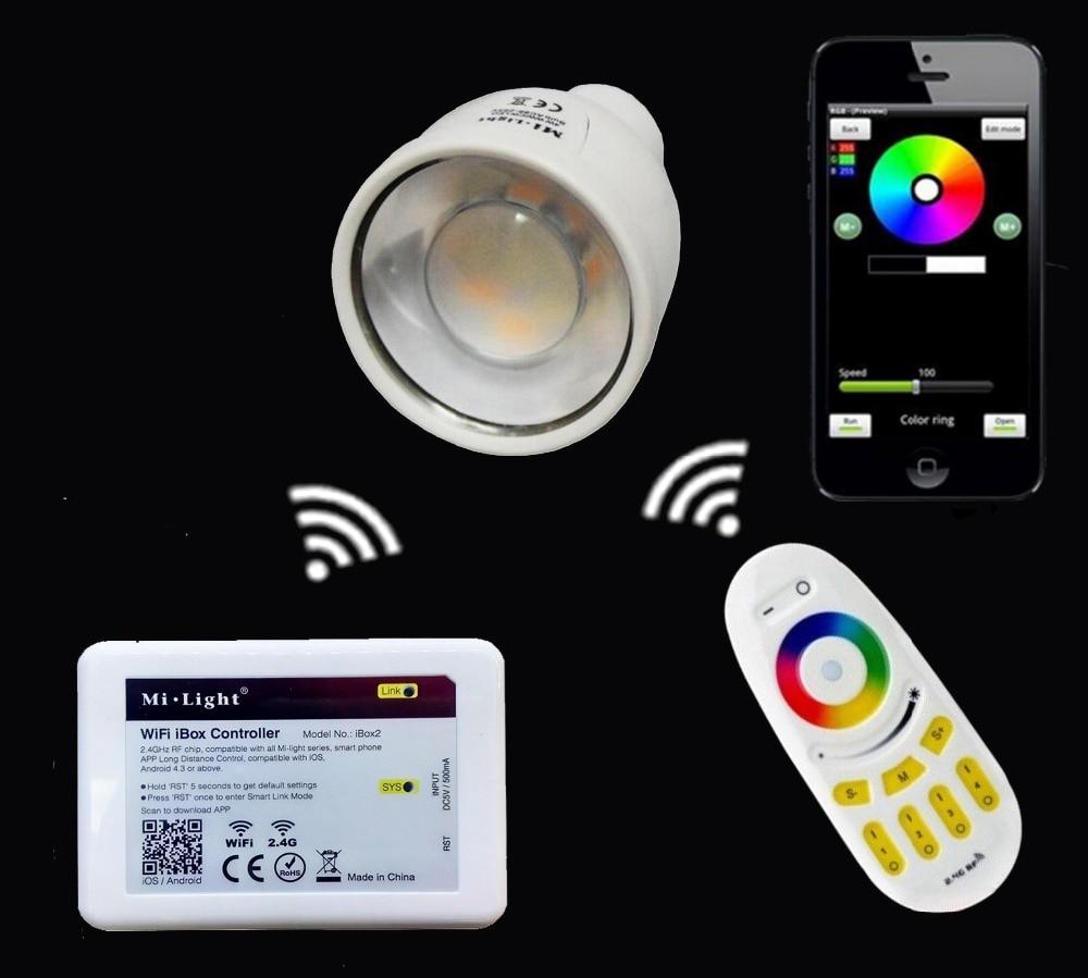 Mi.light RF RGBW 4-Zone Touch Panel Remote Led Controller+2.4G GU10 5W RGBW RGBWW Led Bulb Lamp+Wifi Ibox Led Controller mi light wifi led controller 4x2 4g dc12v 24v led controller rgbw 4 zone rf remote control for 5050 3528 led strip light