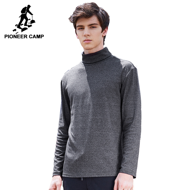 b20a9381901bc5 Pioneer Camp Turtleneck T-shirt men brand-clothing solid long sleeve high  collar T shirt male quality autumn Tshirt ACT702280