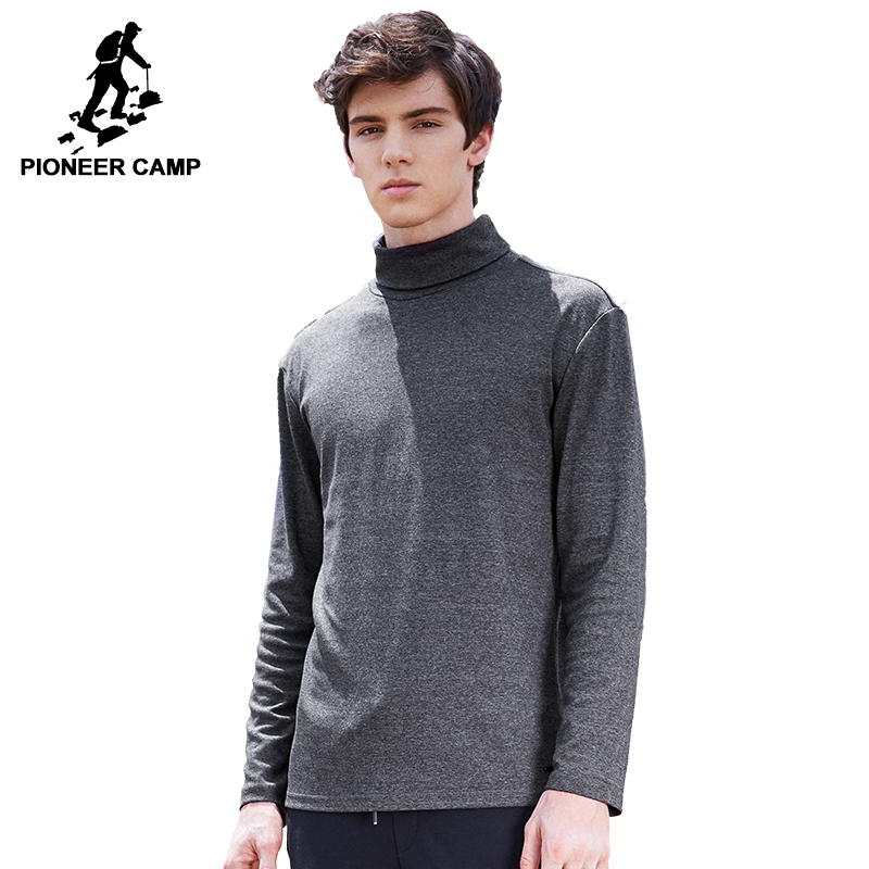 Pioneer Camp Turtleneck   T  -  shirt   men brand-clothing solid long sleeve high collar   T     shirt   male quality autumn Tshirt ACT702280