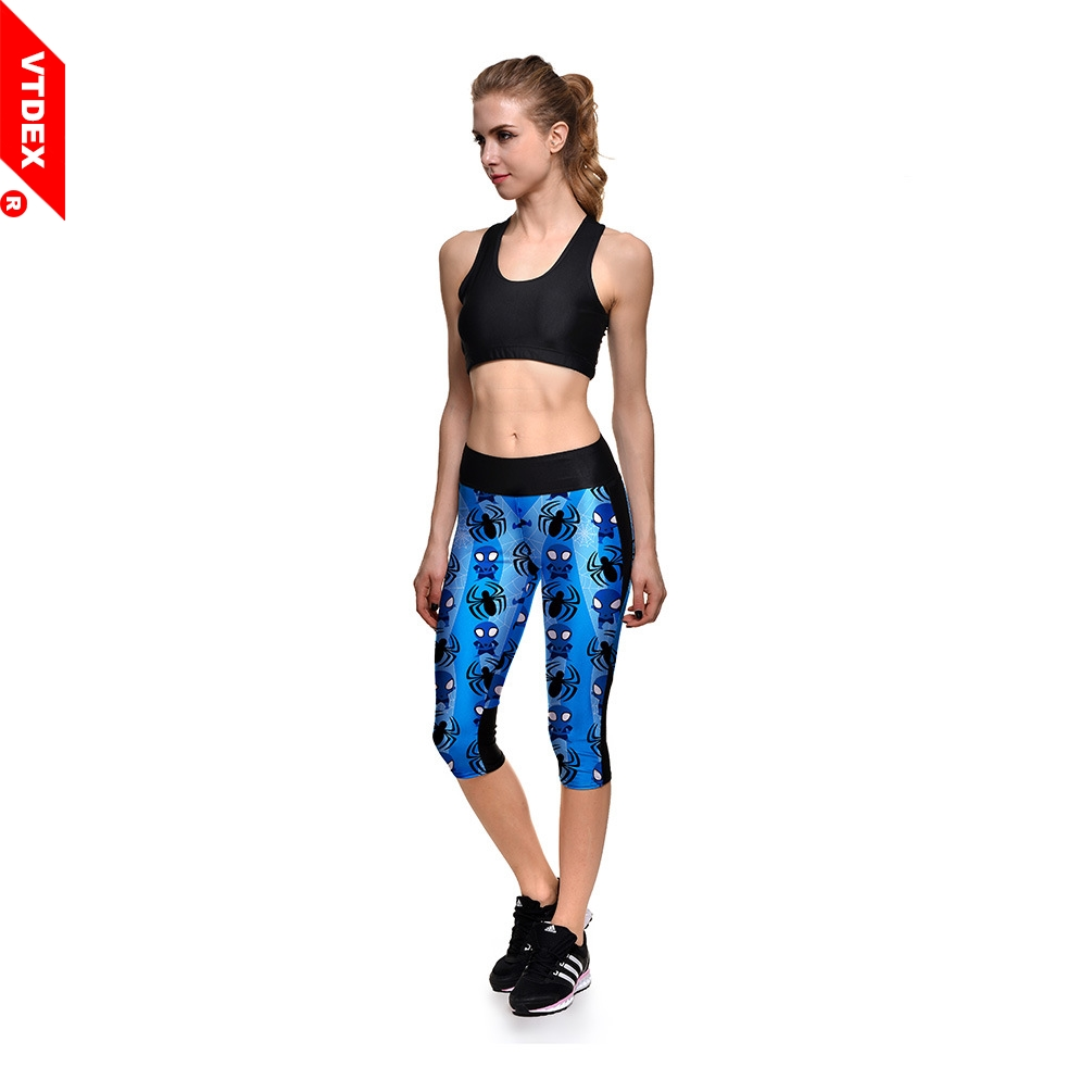 4271288a1d594 Blue Skinny Leggings Capris Women Funny Spider Man Pattern Tights Running  3 4 Fitness Yoga Pants GYM Exercise Sports Trousers-in Yoga Pants from  Sports ...