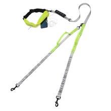 Double laisse pour chien, en Nylon, ajustable, élastique pour la course, la marche, la marche, la main librement réfléchissante, pour petits, moyens et grands chiots