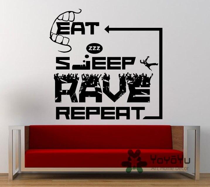 Eat Sleep Rave Repeat Electronic Dance Wall Decal Music Plur Club Sticker Vinyl Mural Bedroom Home Decor muursticker NY-101