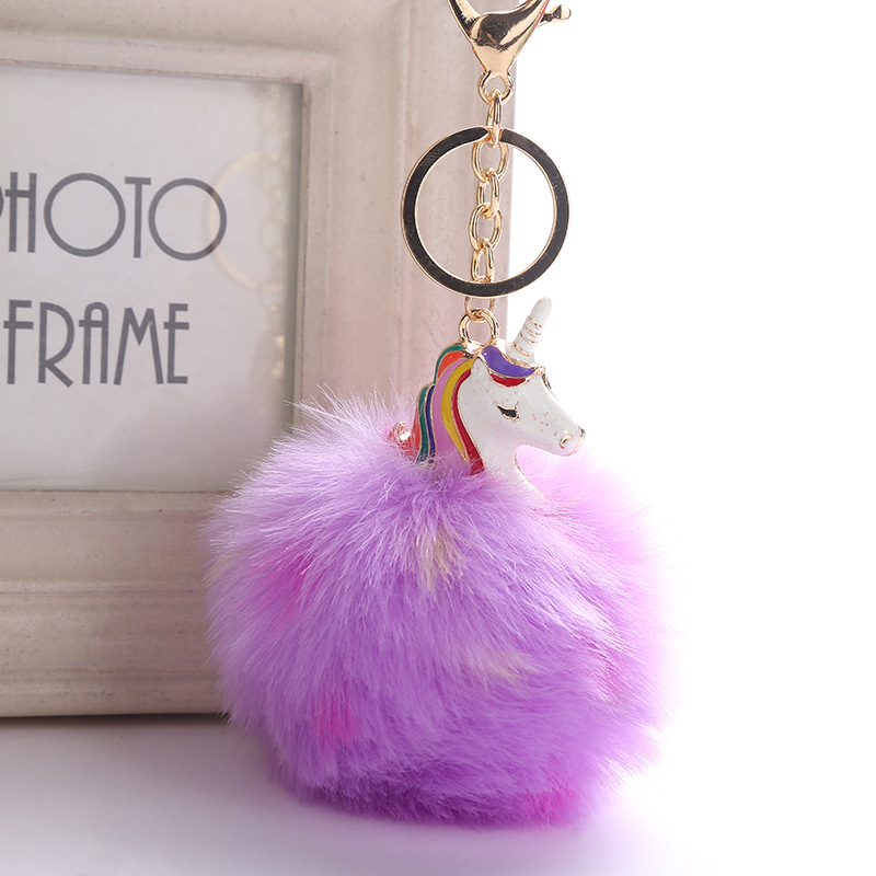 цена Unicorn With Pom Pom Plush Toy Keychain peluche Unicorn Key Pendant Soft Stuffed Animal Toys Kids Girls Bag Hang Pendant licorne