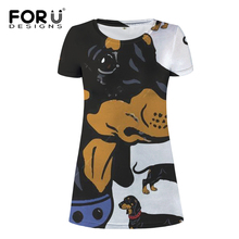 FORUDESIGNS Funny Dachshund Print Women Casual Daliy Mini Dress Ladies Lovely Beach Wear for Female Travel Clothing A-line