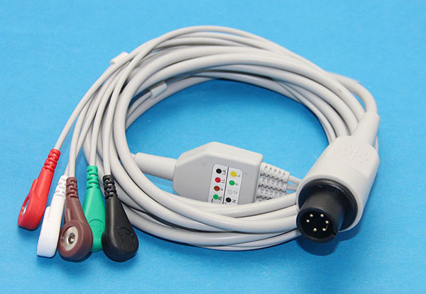 Universal 5 Lead ECG Cable 6Pin Generic for Patient Monitors, Snap ...