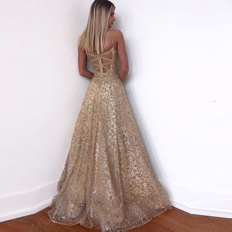 Gold Sequin Dress Women Summer 2019 New Strap Backless Sexy Party Dresses Ladies Hollow Out A Line Tunic Long Dress For Women in Dresses from Women 39 s Clothing