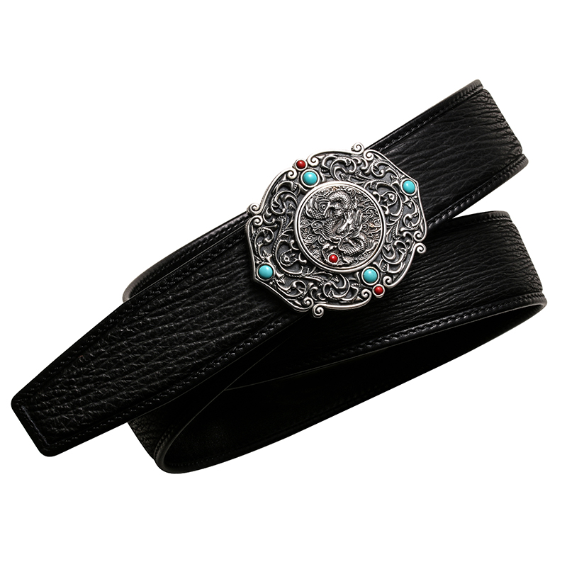 2850 genuine shark skin leather 3D carved sterling silver buckle super quality durable stylish handmade turquoise belt