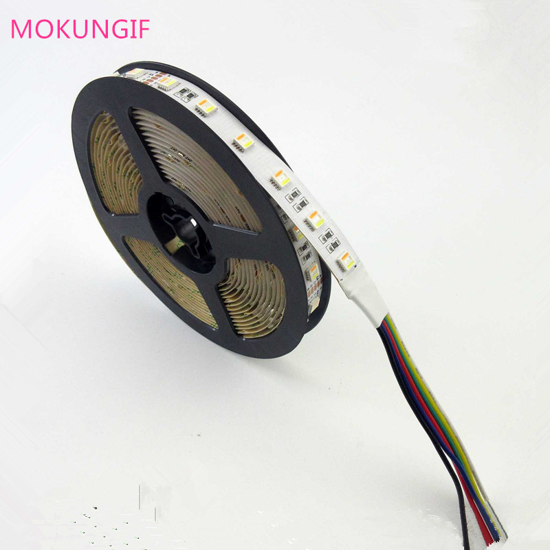 Newest 5M RGB+CCT 5 in 1 LED Strip 5050 30 60led/meter 12v 24v CW+RGB+WW in1 Chip LED Flexible Strip White PCB image