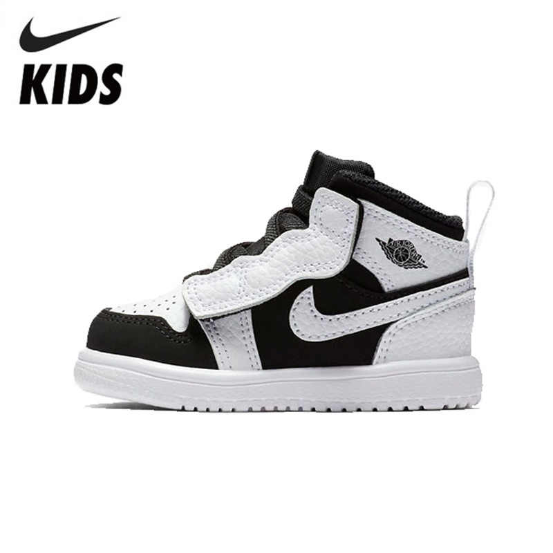 bdfaf187b07 Nike AJ Kids New Pattern Black And White Children's Baby Sneakers  Comfortable Fashion Running Shoes #