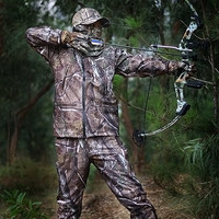 Men Camo Hunting Windproof Water Resistant Ripstop Fleece Jacket & Pants Sets with Mask Cap Gloves Non stick Grass