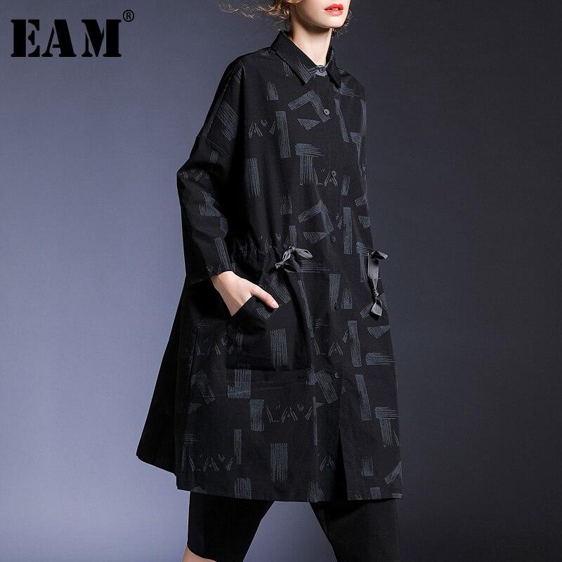 eam Revers Imprimé Taille Femmes Black Longues Grande Jk426 Cordon 2019 Nouveau D'été Shirt De Printemps Lettre Mode Bandage Manches Chemisier rxn8r6wq7