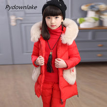 Children Cotton three pieces Sets Girls Clothing with fur hood Winter vest + underskit + Trousers Snow Warm Kids Clothes Suit