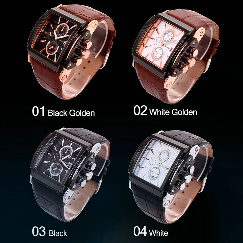Image 4 - BOAMIGO men quartz watches large dial fashion casual sports watches rose gold sub dials clock brown leather male wrist watcheswatch or be watchedwatch circlewatch craft watches -