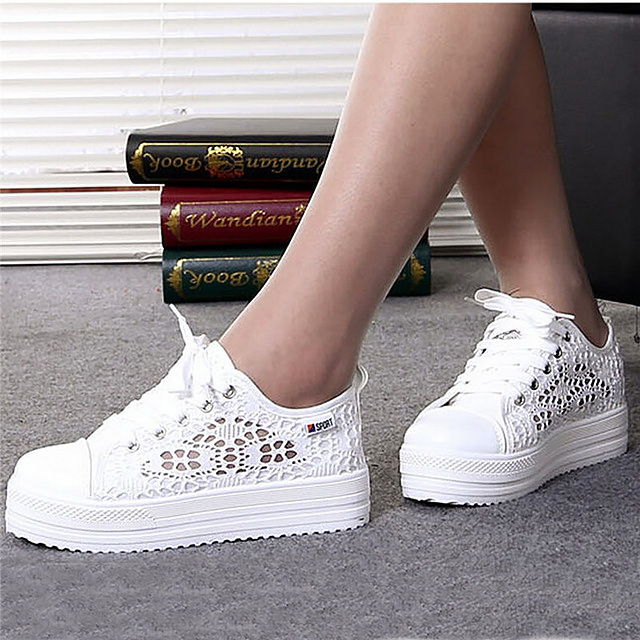 Women Shoes Summer 2018 fashion Casual Cutouts Lace Canvas Hollow Breathable Platform Flat Shoes woman tenis feminino women creepers shoes 2015 summer breathable white gauze hollow platform shoes women fashion sandals x525 50