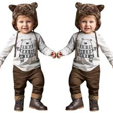2017 Autumn Boy Clothing Set Long Sleeve  Bear Print Suit For Baby Sets Cotton Clothes New Costume 17Nov24