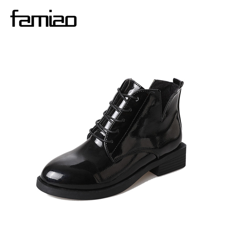 FAMIAO Lace Up Martin Boots For Women Fashion Thick Heels Point Toe Side Zip Spring Autumn 2017 Black Ankle Shoes british style retro carving round toe low thick heels lace up martin boots for women black brown cowhide size 40 booties shoes